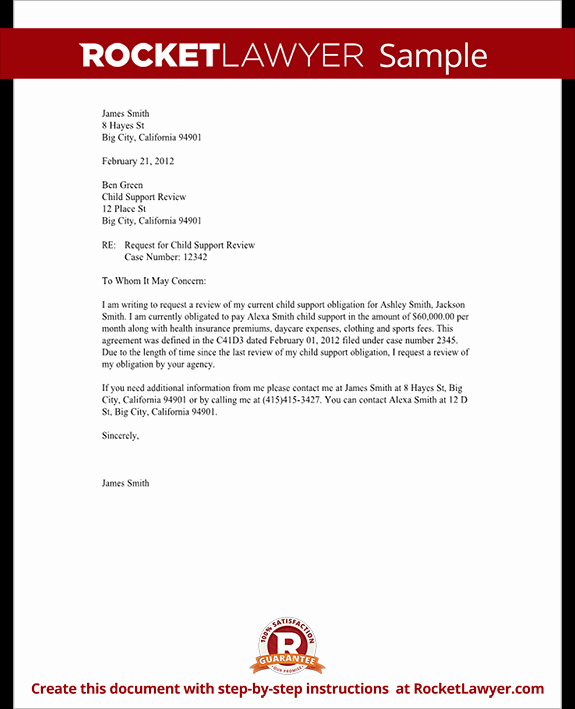 Child Support Review Letter Request Review with Sample