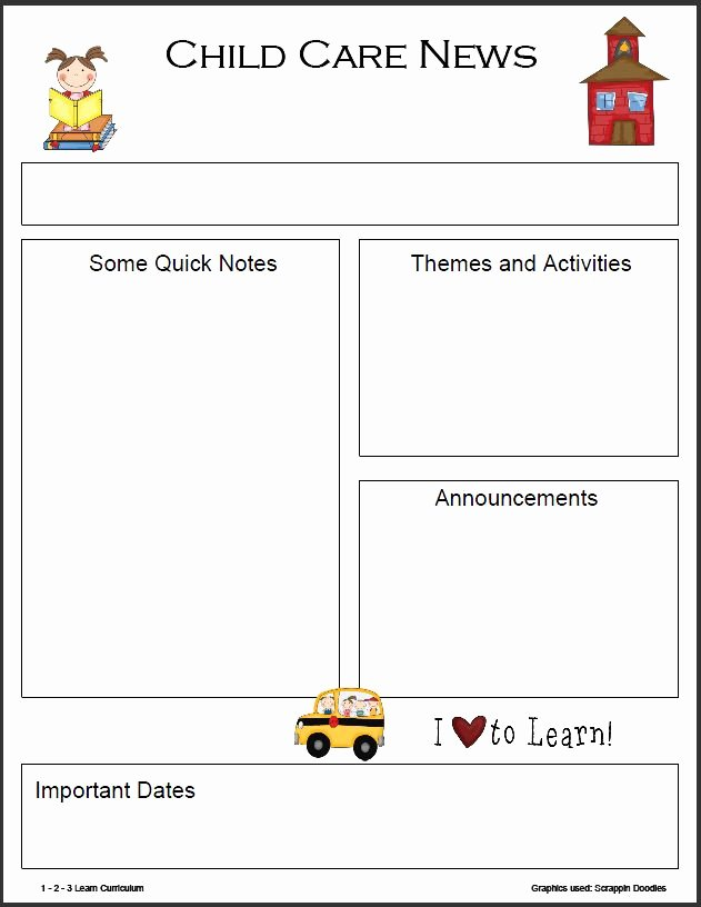 Childcare Newsletter Templates Free Downlod Google
