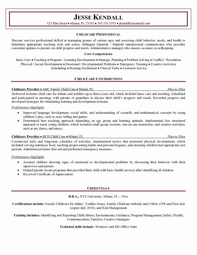 Childcare Provider Resume