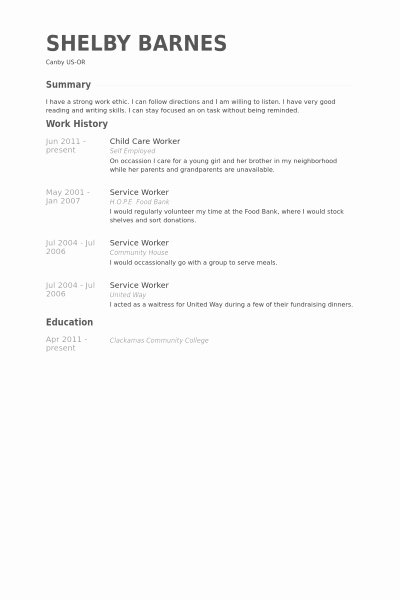 Childcare Worker Resume Best Resume Gallery