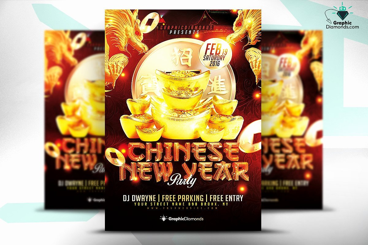 Chinese New Year Flyer Psd Flyer Templates Creative Market