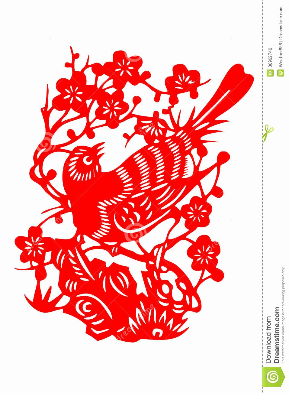 Chinese Paper Cut Bird Stock Illustration Illustration Of