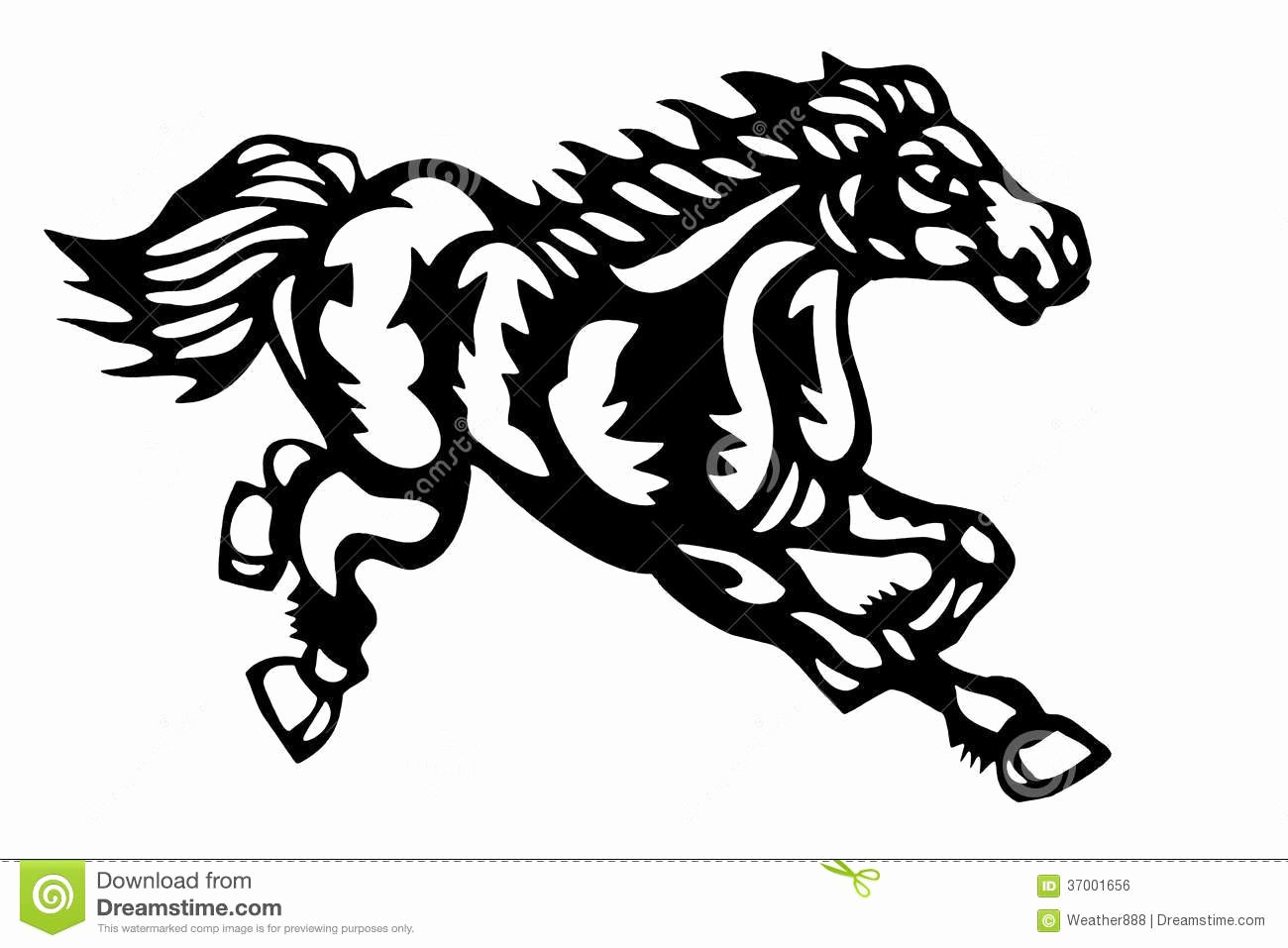 Chinese Paper Cut Horse Stock Vector Image Of Black