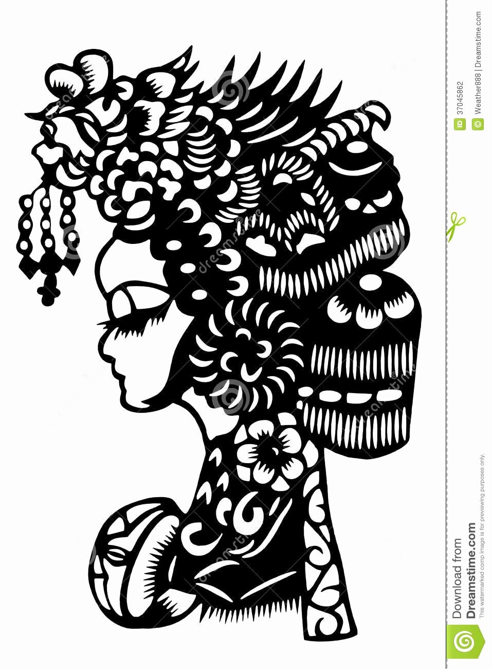 Chinese Paper Cut Women Stock Illustration Illustration