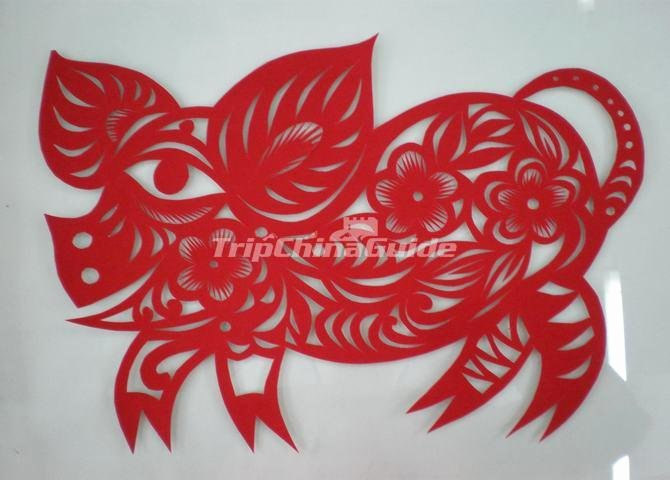 Chinese Paper Cutting Pig Chinese Paper Cutting Chinese