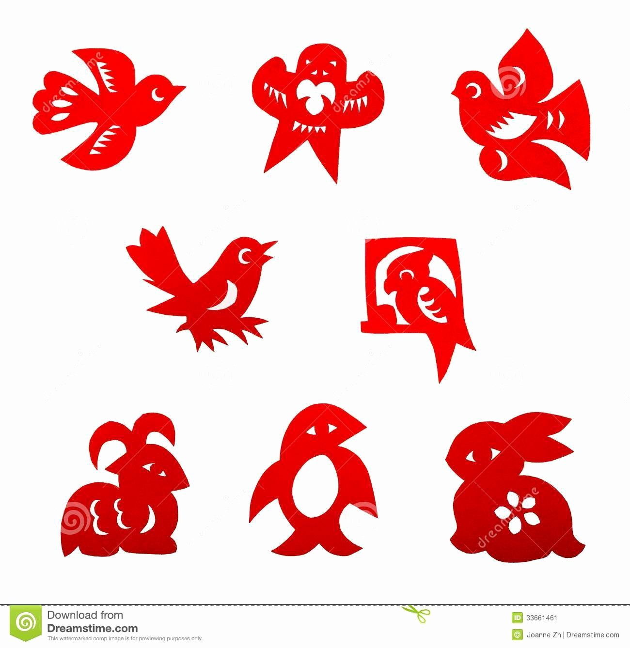 Chinese Paper Cutting Set Stock Image Image Of Mon