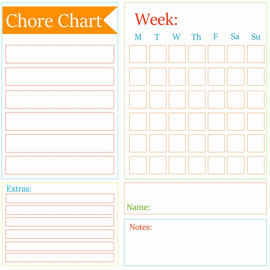 Chore Chart Checklist Template Kleinworth & Co