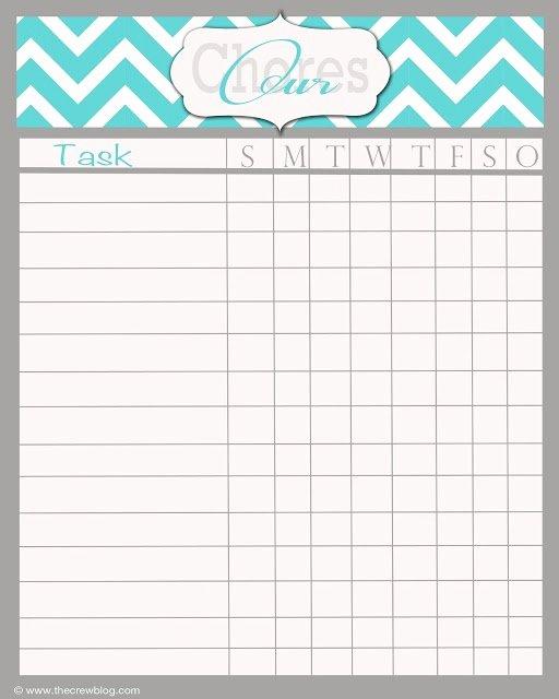 Chore Chart Printable Editable Free Printable Blank Chore