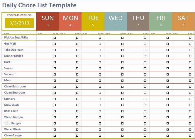 Chore List Template Beepmunk