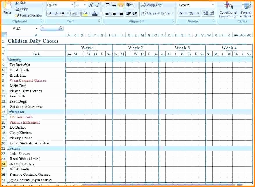 Chores Calendar Template Chore Chart Excel Children Daily