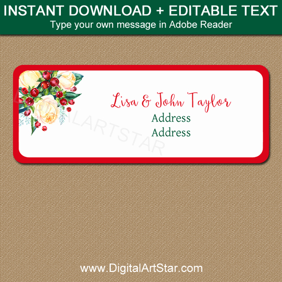 Christmas Address Labels Holiday Mailing Labels