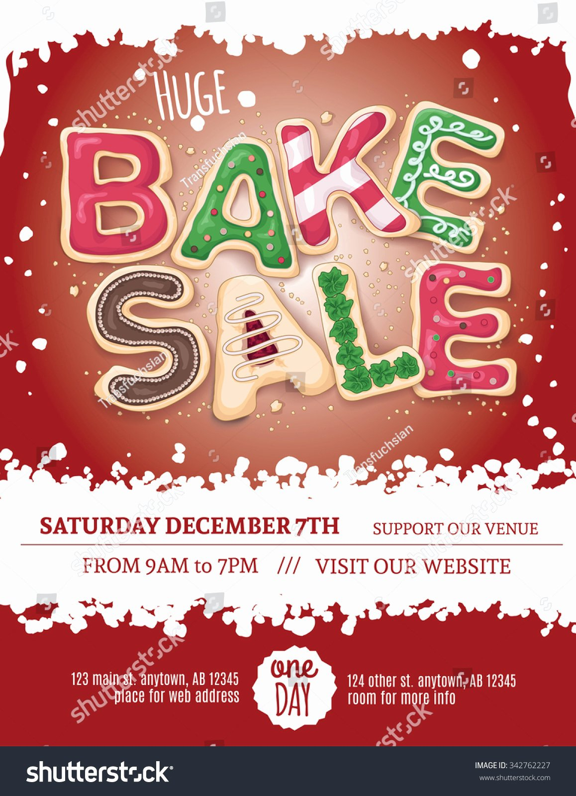 Christmas Bake Sale Flyer Template Hand Stock Vector