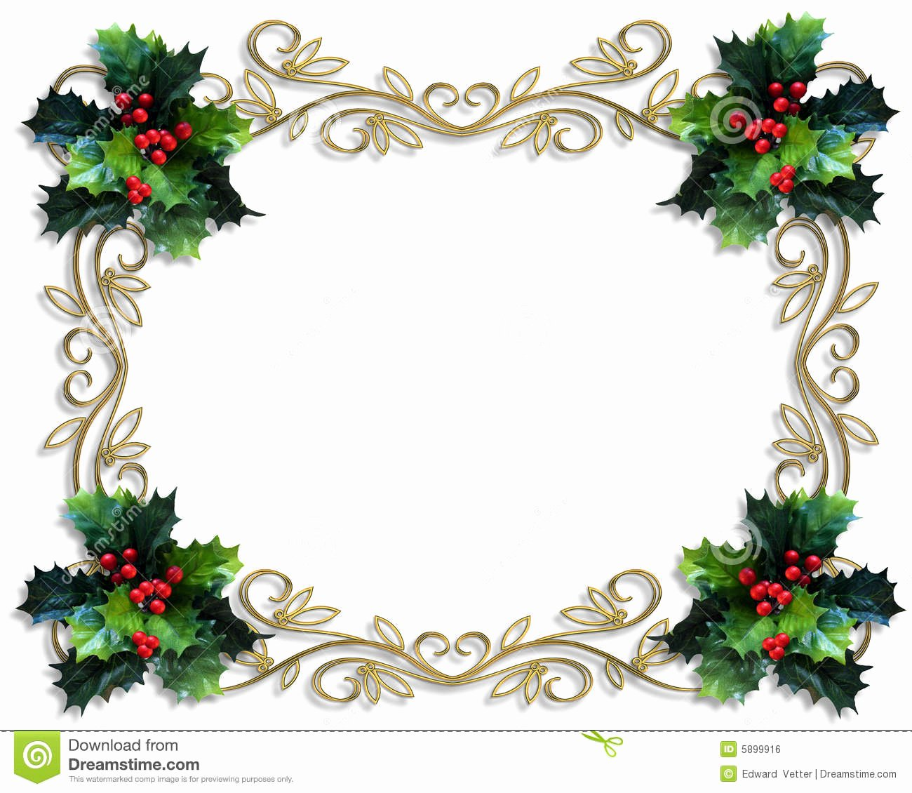 Christmas Border Holly Gold Frame Stock Illustration