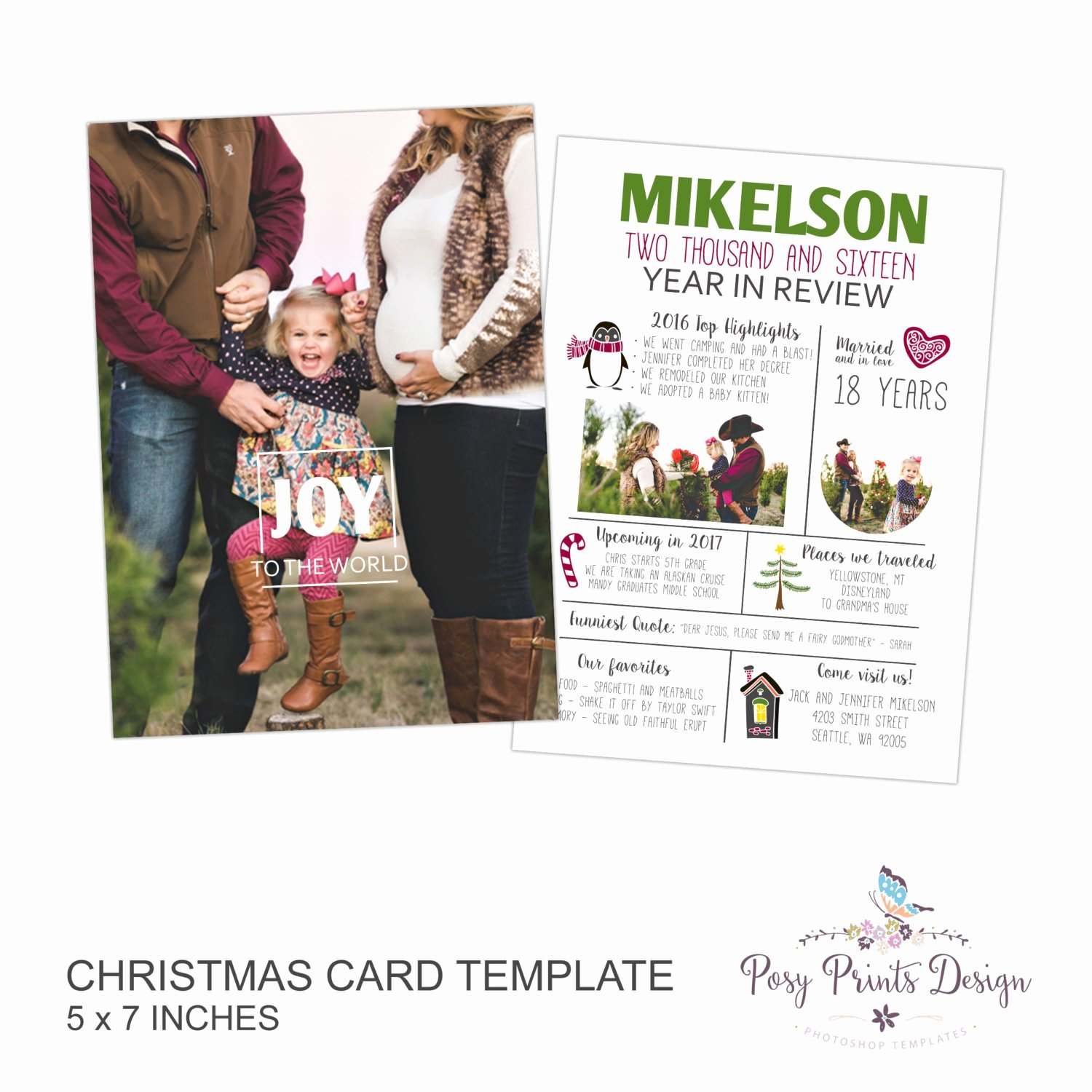 Christmas Card Shop Template Year In Review Family