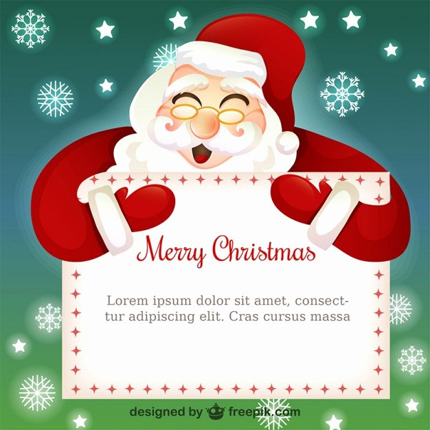 Christmas Card Template with Santa Claus Cartoon Vector