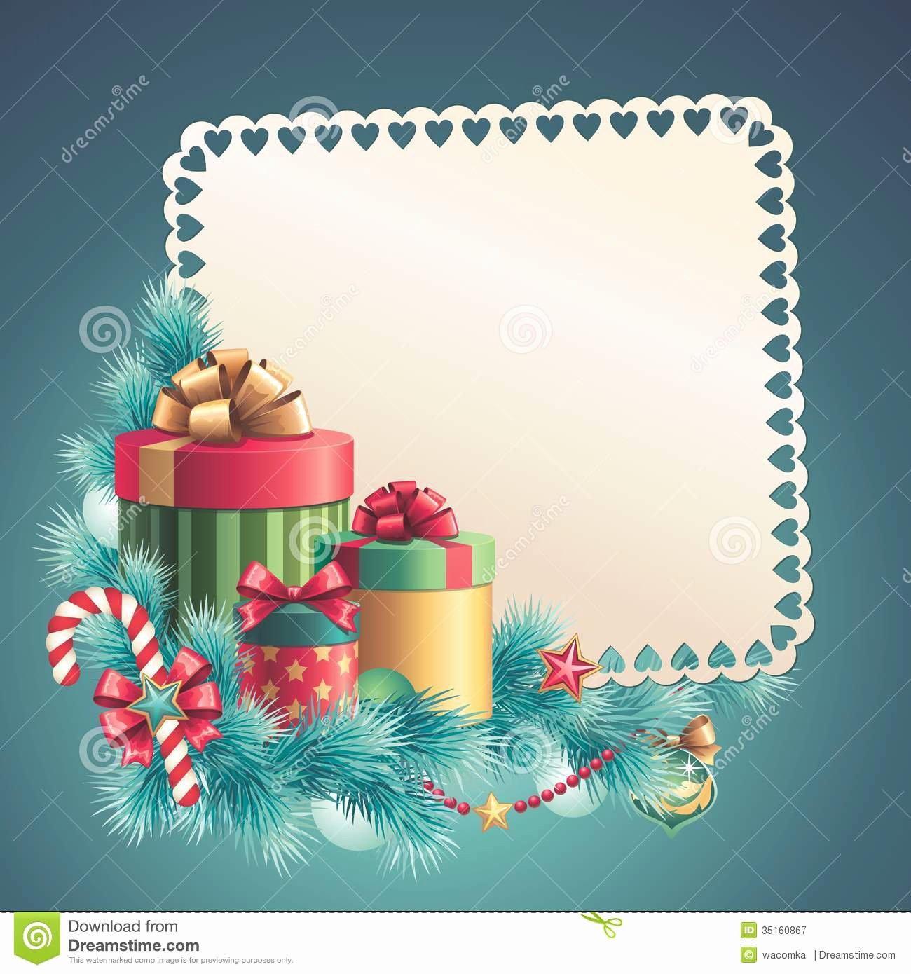 Christmas Gift Boxes Stack Greeting Card Stock