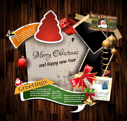 Christmas Greetings Cards Vector Template Free Vector In