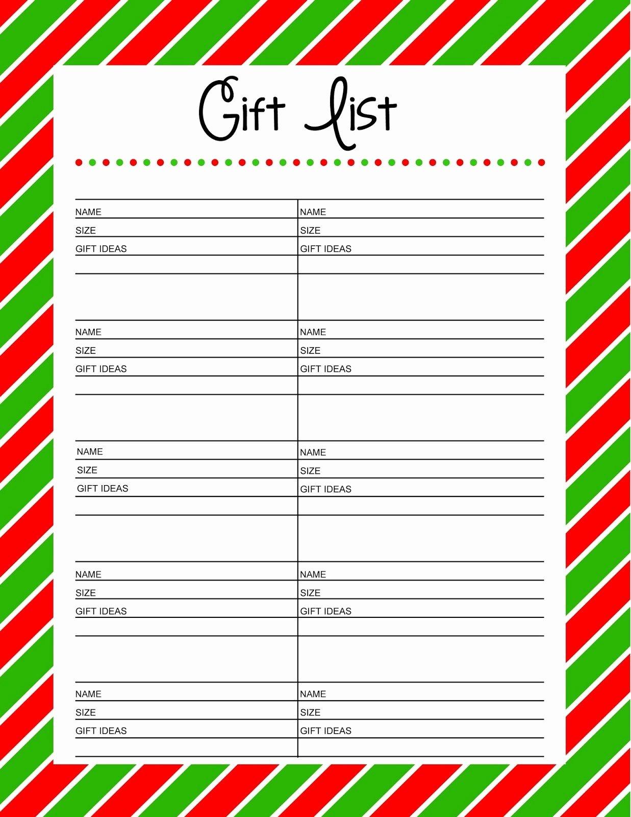 Christmas List Templates Portablegasgrillweber