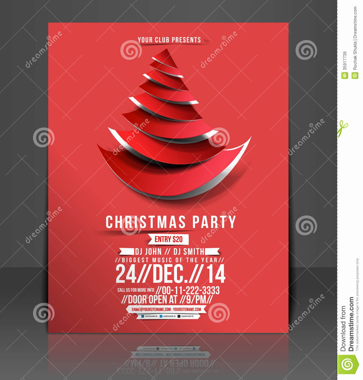 Christmas Party Flyer Stock Vector Image event Leafl