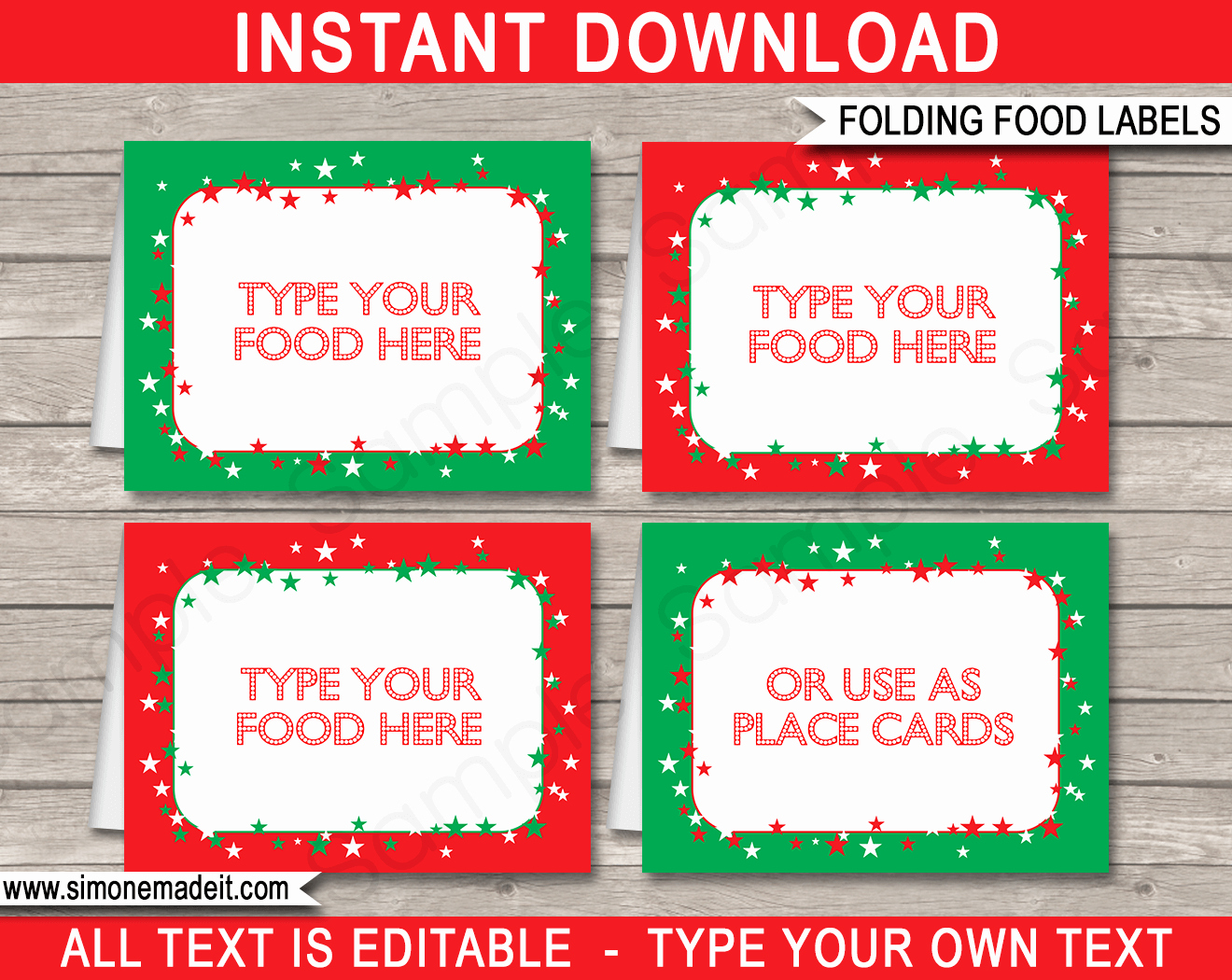 Christmas Party Food Labels Place Cards