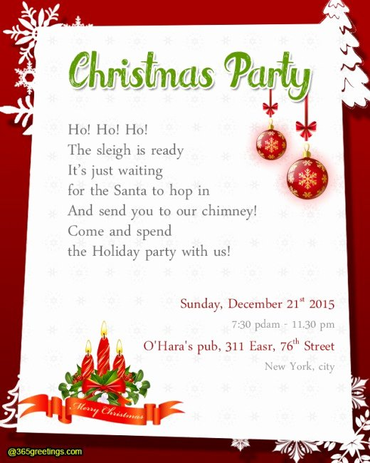 Christmas Party Invitation Wording 365greetings