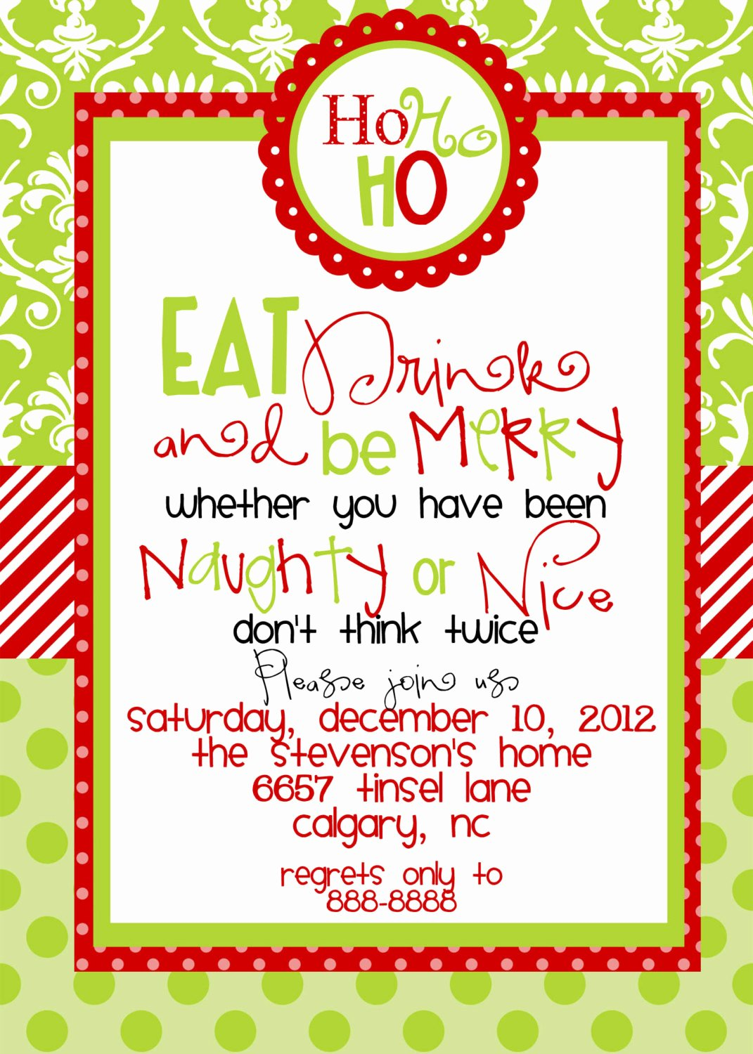 Christmas Party Invite Wording Template