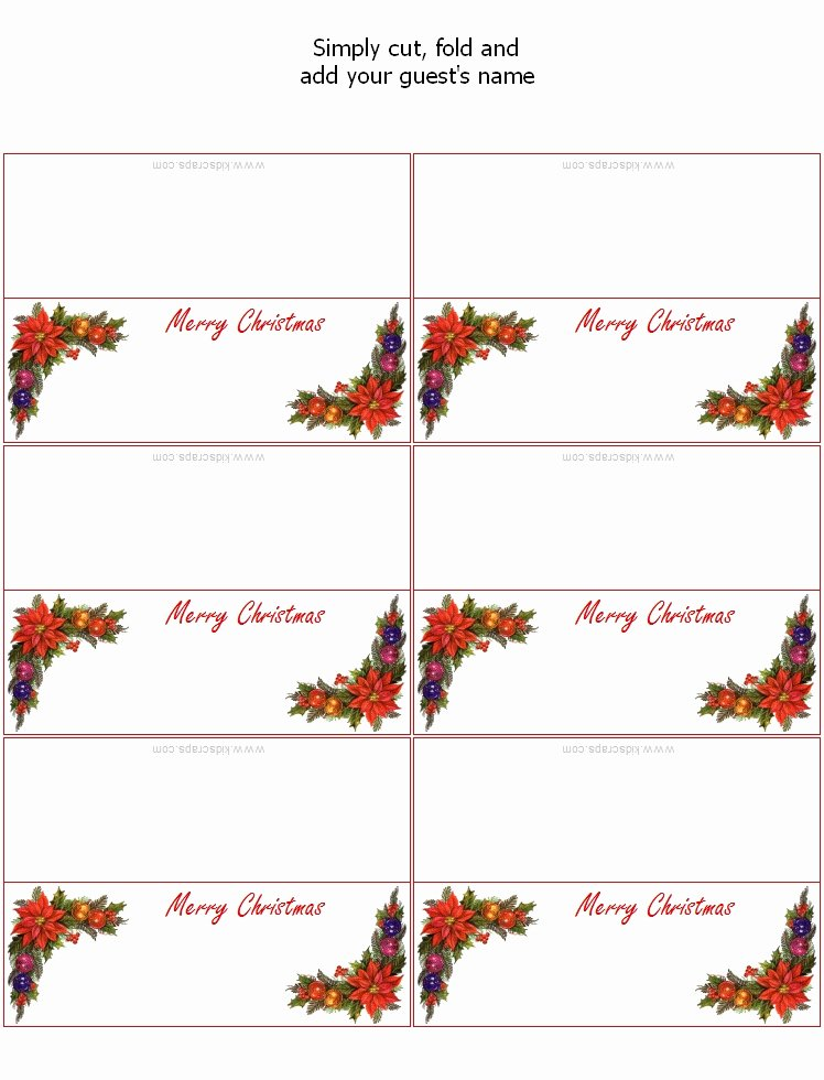 Christmas Place Card Templates Invitation Template