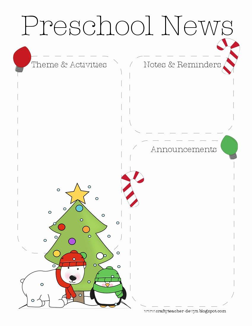 Christmas Preschool Newsletter Template