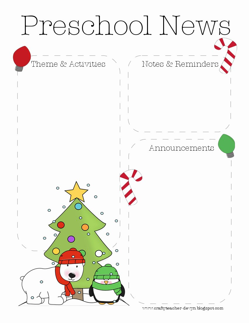Christmas Preschool Newsletter Template
