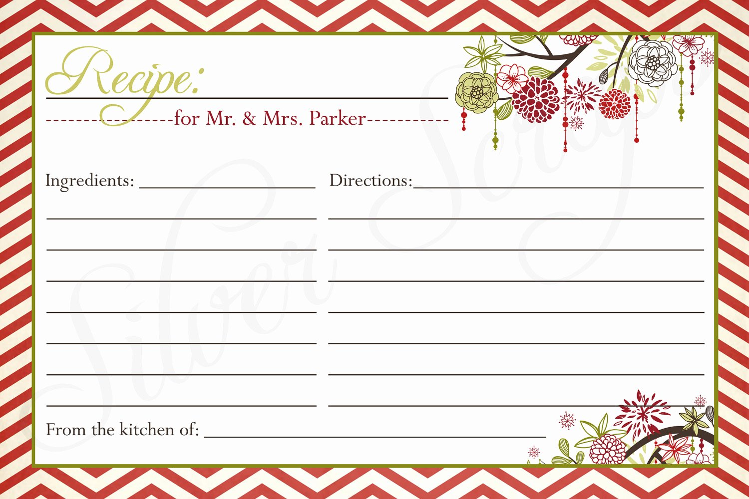Christmas Recipe Card Clipart