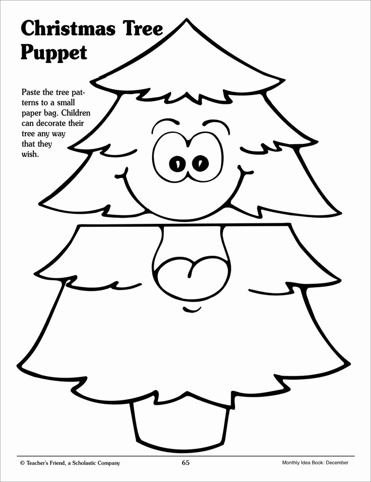 Christmas Tree Paper Bag Puppet Pattern Printables On
