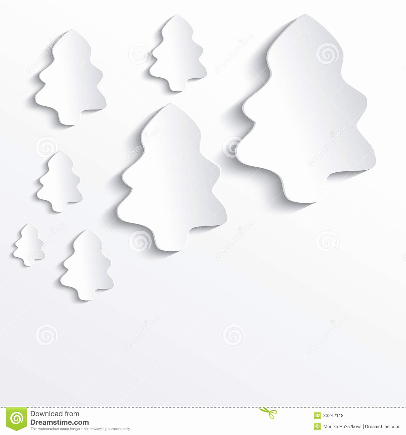 Christmas Tree White Paper 3d Stock Vector Image