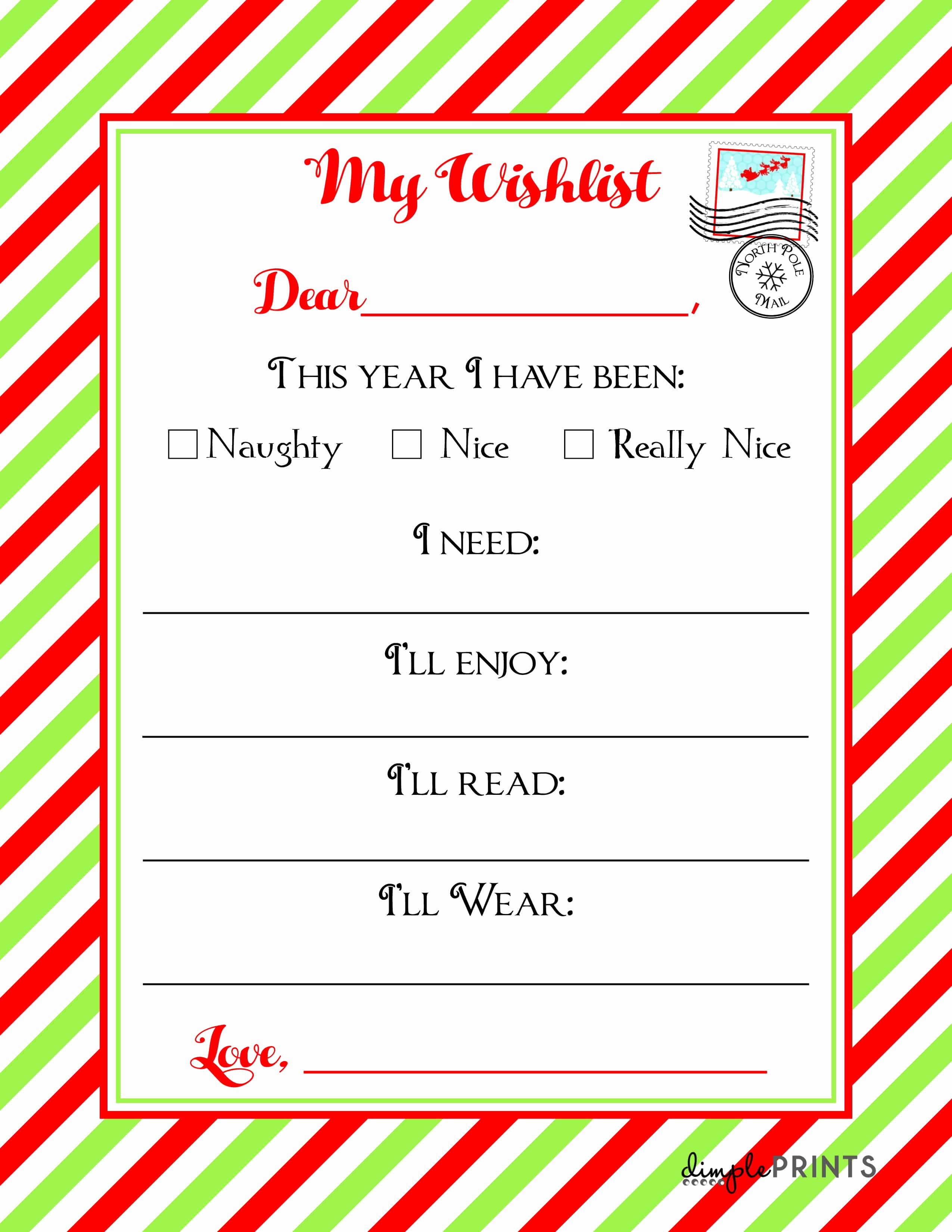 Christmas Wishlist Printable Letter ⋆ Real Housemoms