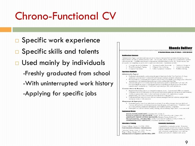 Chrono Functional Resume Sample Ideal Vistalist Co In