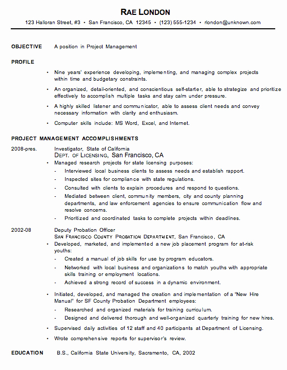 Chronological Resume Example Project Manager