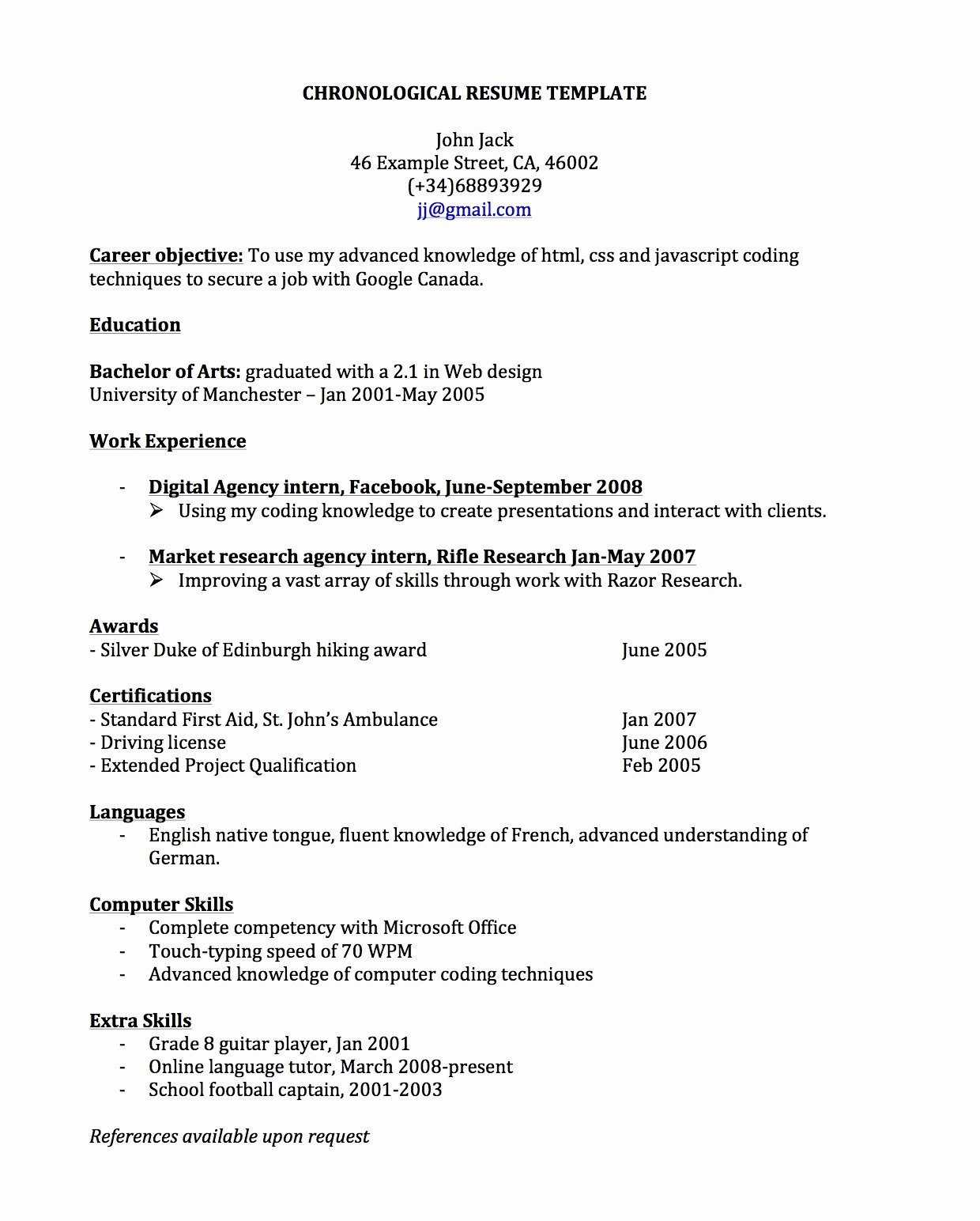 Chronological Resume for Canada