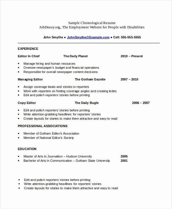 Chronological Resume Template 23 Free Samples Examples