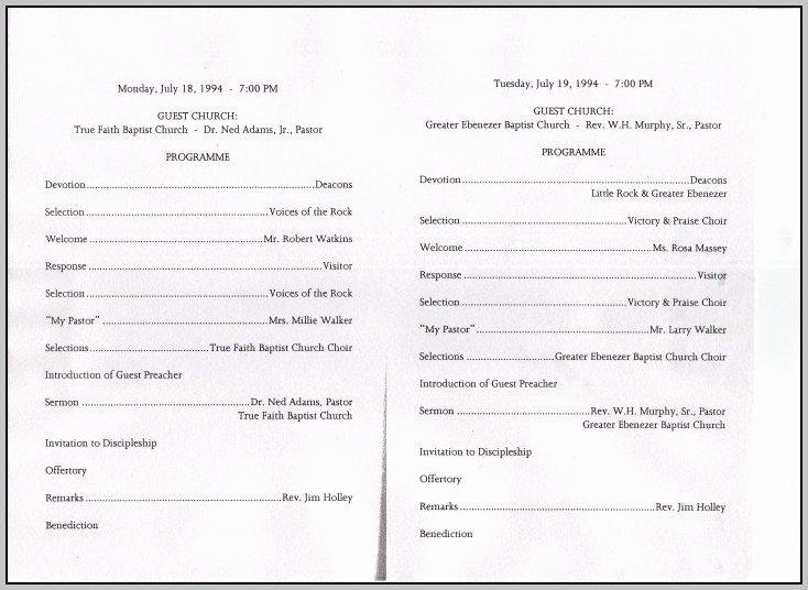 Church Anniversary Program Sample Template Resume
