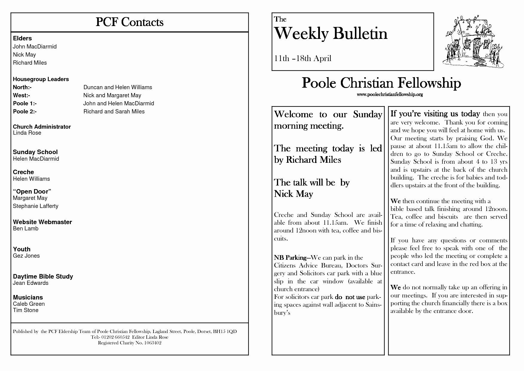 Church Bulletin Template Free Templates Resume