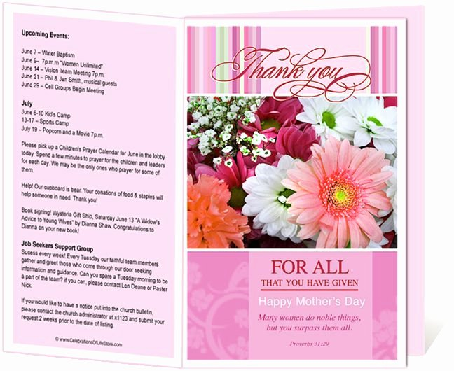 Church Bulletin Templates Mother S Day Church Bulletin