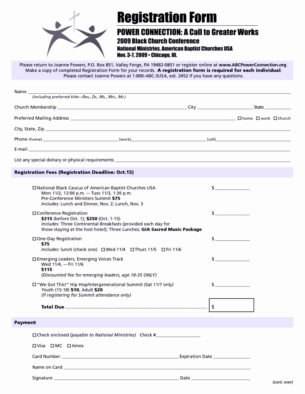 Church Conference Registration form Template Templates