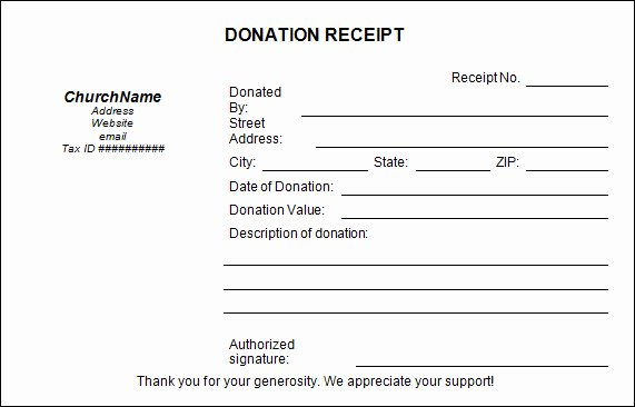 Church Donation Templates Paper Donation Receipt Templates