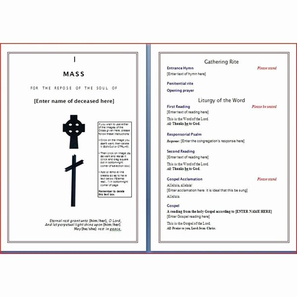 Church Funeral Program Templates Free Templates Resume