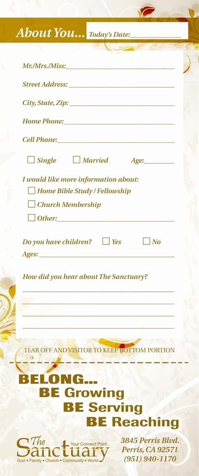 Church Guest Card Back