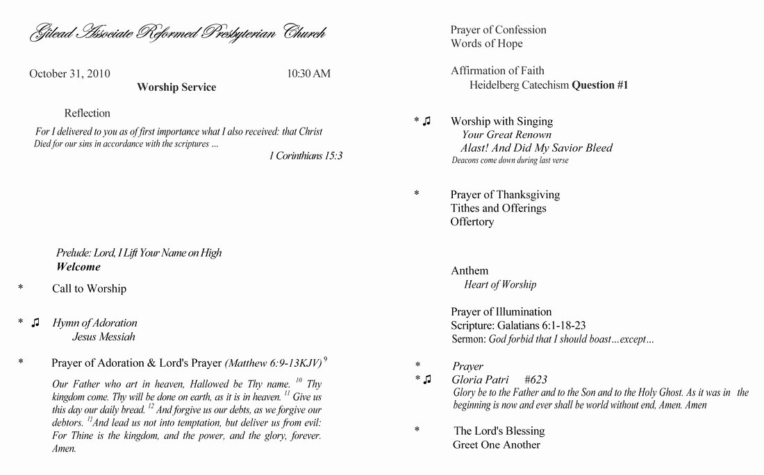 Church order Service Template Choice Image Template