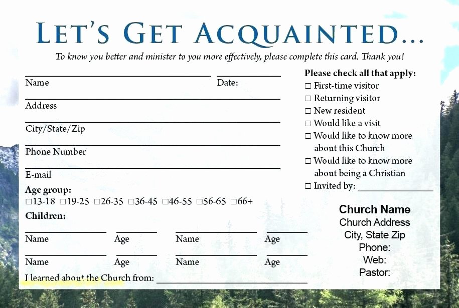 church visitor card template word