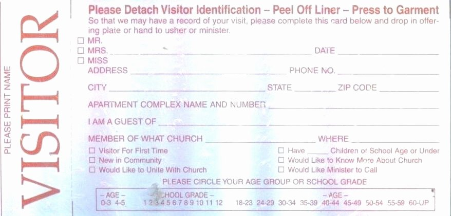 Church Visitors Card Template Visitor Minimalist Donation