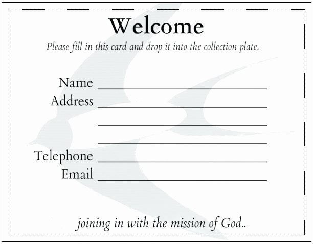 Church Wel E Card Template Best Ministry