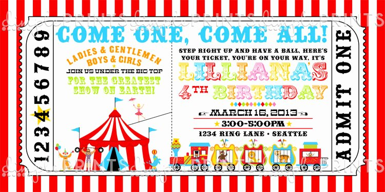 Circus Ticket Birthday Party Invite Dimple Prints Shop