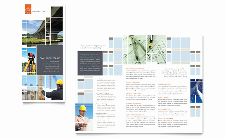 Civil Engineers Tri Fold Brochure Template Word & Publisher